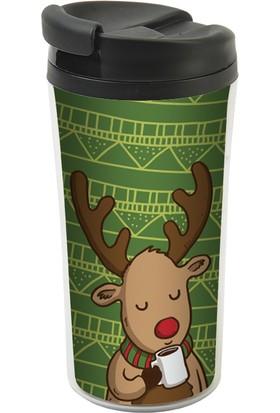 Allmug İç-Dış Plastik Termos- Reindeer And Coffee Mug