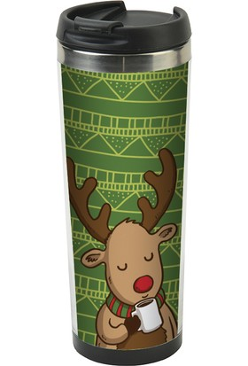 Allmug İçi Çelik Termos - Reindeer And Coffee Mug