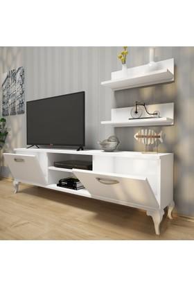 Rani A4 Duvar Raflı - Kitaplıklı Tv Ünitesi Modern Ayaklı Tasarım Beyaz