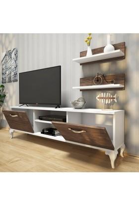 Rani A4 Duvar Raflı - Kitaplıklı Tv Ünitesi Modern Ayaklı Tasarım Beyaz - Antik Ceviz