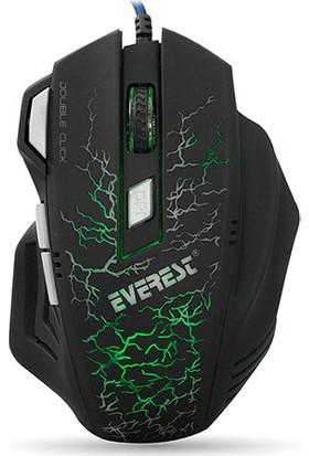 Everest SM-770 Yıldırım Desenli USB Siyah 3200 DPI Oyuncu Mouse