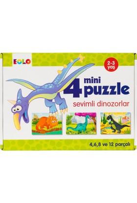 4 Mini Puzzle :Sevimli Dinozorlar