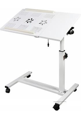 Hodbehod Yerden Yükseklik ve Eğim Ayarlı Mouse Bölmeli Laptop Sehpası - Beyaz