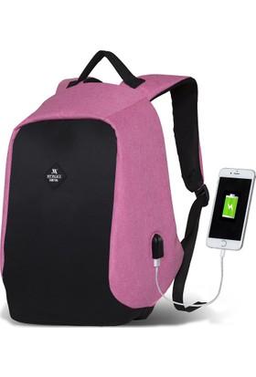My Valice Smart Bag Secret Usb Şarj Girişli Akıllı Sırt Çantası Pembe
