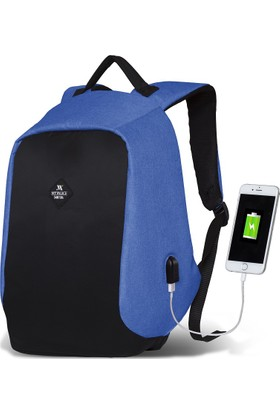 My Valice Smart Bag Secret Usb Şarj Girişli Akıllı Sırt Çantası Mavi