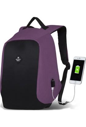 My Valice Smart Bag Secret Usb Şarj Girişli Akıllı Sırt Çantası Bordo
