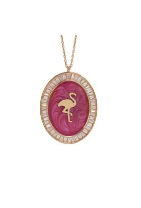 Denz Takı 925 Ayar Mineli Flamingo Kuşu Figürlü Madalyon Kolye Kl206