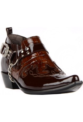 FootCourt Erkek Kovboy Ayakkabısı Fas Kahve Rugan 44