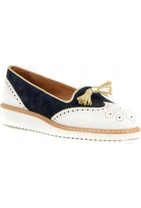 FootCourt Kadın Ayakkabısı Beyaz-Lacivert 38