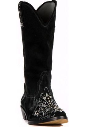 FootCourt Kadın Kovboy Çizmesi Holy Süet Siyah 40