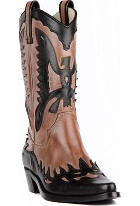 FootCourt Bayan Kovboy Çizmesi Buz Siyah-Krem 40