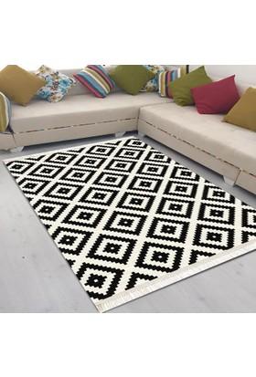 Best Home Latex Taban Dijital Baskılı Saçaklı Halı Ömür Siyah 100X150 Cm