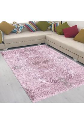 Best Home Latex Taban Dijital Baskılı Saçaklı Halı Romantik Pembe 80X300 Cm