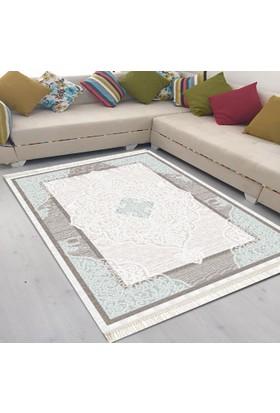 Best Home Latex Taban Dijital Baskılı Saçaklı Halı Lara Mavi 80X150 Cm