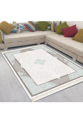 Best Home Latex Taban Dijital Baskılı Saçaklı Halı Lara Mavi 80X300 Cm