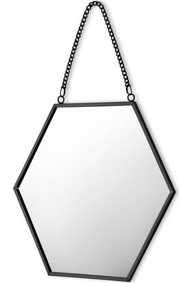The Mia Brass Ayna Siyah 17 x 15 cm