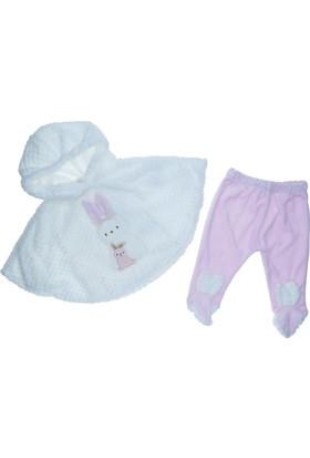 Serkon Kız Bebek Pelerinli 3-6-9-12-Ay Takım