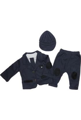 Baray Bebe Erkek Bebek Şapkalı Ceketli Takım