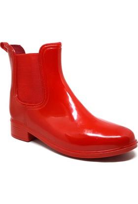 Shop And Shoes Kadın Yağmur Botu Kırmızı 062-035