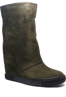 Shop And Shoes Kadın Bot Yeşil Süet 122-0032
