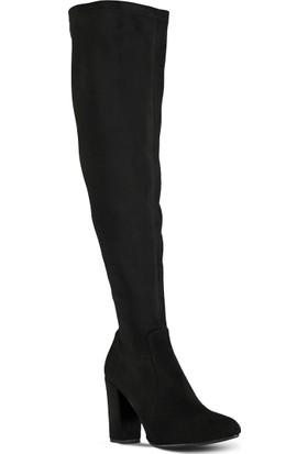 Marjin Streç Topuklu Çizme Siyah Süet
