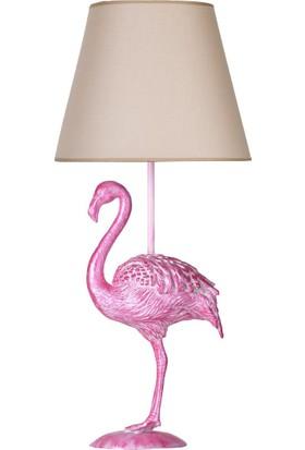 qdec Modern Dizayn Flamingo Abajur Pembe Bej