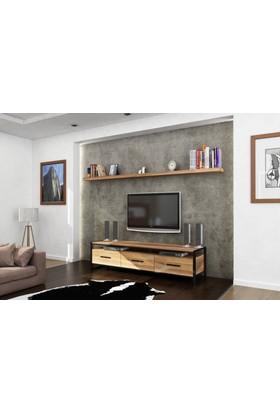 Endustriyel Mobilya Meşe TV Ünitesi 180 cm