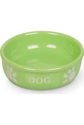 Nobby Pati Desenli Seramik Köpek Mama Ve Su Kabı 12 X 3,7 Cm Açık Yeşil