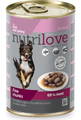 Nutrilove Tahılsız Sığır Etli Hindili Parça Etli Köpek Konservesi 415 Gr