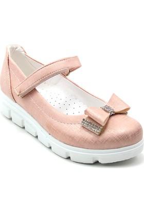 Varkan Tokalı Kız Çocuk Ayakkabı Pudra