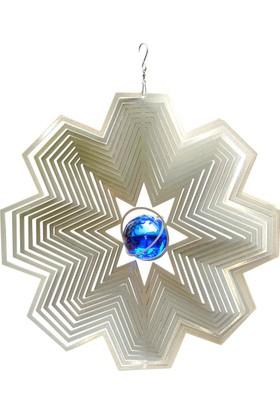Panstore Noel Süsü Mavi Toplu Metal Dekoratif Rüzgar Gülü