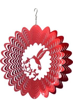 Panstore Noel Süsü Kuş Desenli Metal Dekoratif Rüzgar Gülü