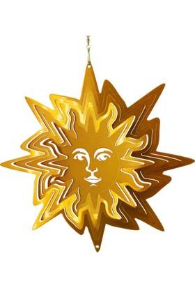 Panstore Noel Süsü Güneş Desenli Metal Dekoratif Rüzgar Gülü