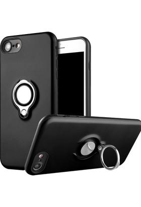Kapakevi Apple iPhone 6 / 6S Plus Mıknatıslı Selfie Yüzüklü Kadife Dokulu TPU Kılıf