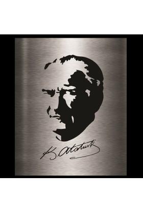 Dekoragel Atatürk Portre İmzalı Metal Duvar Dekoru