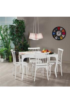 Mobetto Efes Masa + Violet 4 Adet Sandalye Takımı - Beyaz