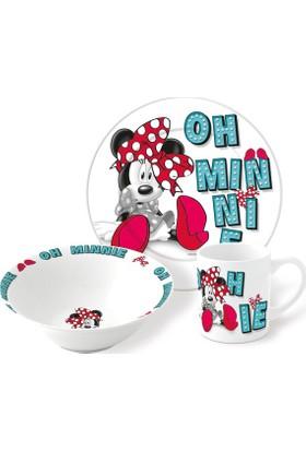 Disney Minnie Mouse Porselen 3'lü Beslenme Seti