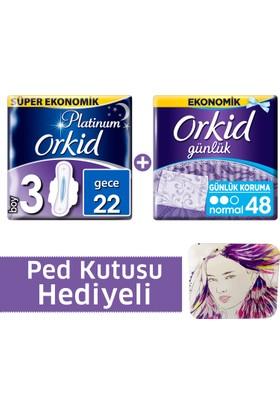 Orkid Fırsat Paketi Platinum Hijyenik Ped Gece 22'li + Günlük Ped 48'li + Ped Kutusu