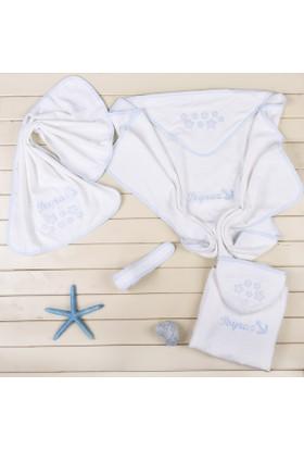 MirDesign Denizci Temalı İsme Özel Erkek Bebek 3Lü Banyo Seti