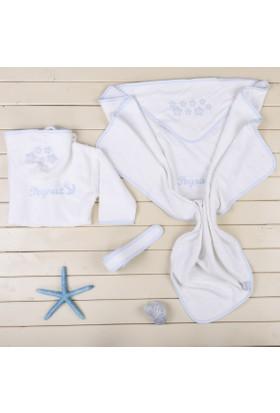 MirDesign Denizci Temalı İsme Özel Erkek Bebek Bornoz ve Kundak Havlu Seti