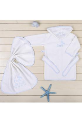MirDesign Uçaklı İsme Özel Erkek Bebek Bornoz Seti