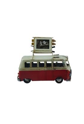 İkizler Çerçeveli Nostaljik Minibüs A26 Kırmızı 20 Cm