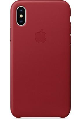 Apple iPhone X Deri Kılıf Kırmızı (İthalatçı Garantili) MQTE2FE/A