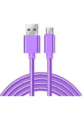 Case 4U Micro USB Renkli Kısa Data ve Şarj Kablosu Mor*