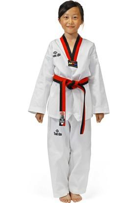 Daedo Taekwondo Elbisesi Pum Yaka (Kırmızı-Siyah) WTF Onaylı