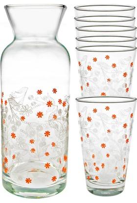Joy Glass 7 Parça Çiçekli Şal Desen Su Seti P42877Snb & P43824Sb