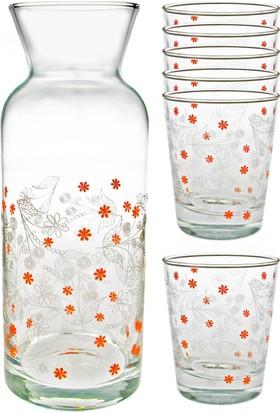 Joy Glass 7 Parça Çiçekli Şal Desen Su Seti P42875Snb & P43824Sb
