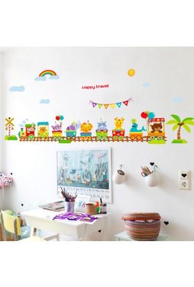 Crystal Kids Tren ve Hayvanlar Bebek ve Çocuk Odası PVC Duvar Sticker