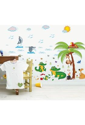 Crystal Kids Sevimli Timsah ve Hayvanlar Bebek ve Çocuk Odası PVC Duvar Sticker