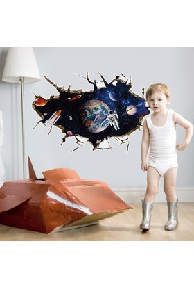 Crystal Kids Pencereden Görünen Uzay ve Astronot Çocuk Odası PVC Duvar Sticker